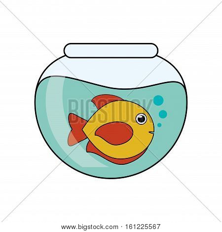 Fish animal cartoon inside bowl icon. Sea life ecosystem fauna and ocean theme. Isolated design. Vector illustration