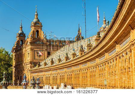 Main building of Plaza de Espana, an architecture complex in Seville - Spain, Andalusia
