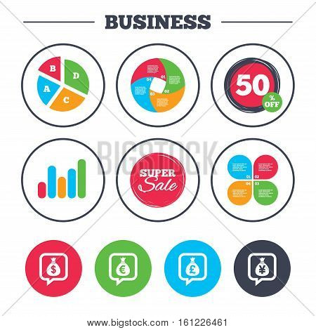 Business pie chart. Growth graph. Money bag icons. Dollar, Euro, Pound and Yen speech bubbles symbols. USD, EUR, GBP and JPY currency signs. Super sale and discount buttons. Vector