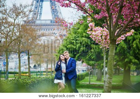 Romantic Couple In Paris On A Spring Day