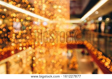 Sparkling background made of lights. Festive blurred backdrop for holidays and parties.