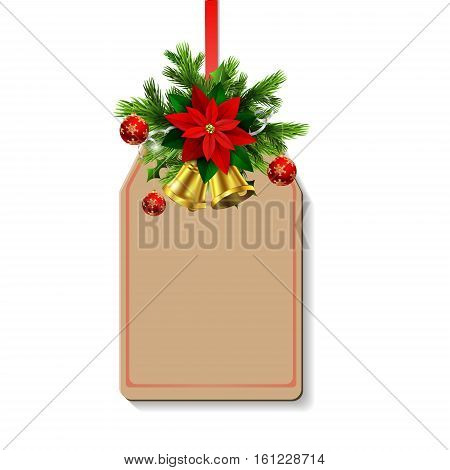 Christmas decoration with poinsettia and balls and christmas tree brunches and two golden bells on tag with free space