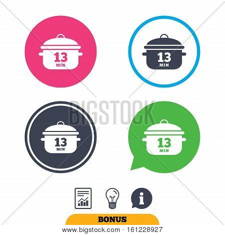 Boil 13 minutes. Cooking pan sign icon. Stew food symbol. Report document, information sign and light bulb icons. Vector