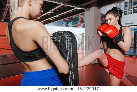 Powerful punch. Attractive young athletic lady practicing her leg kick with her friend who holding a special training pad