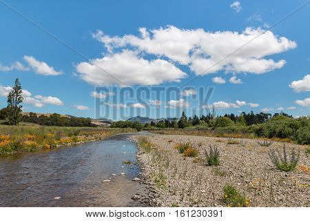 Taylor river with blue sky cumulus clouds and copy space