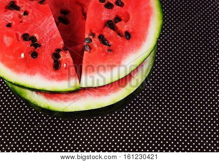 Cut into pieces of ripe red watermelon