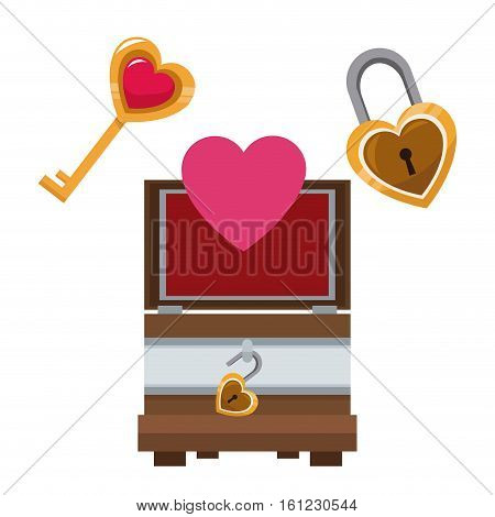 valentine day wooden box heart key and lock vector illustration eps 10