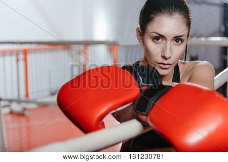 Challenging fight. Pretty focused young boxer meditating before the final bout while leaning on the ropes and already wearing boxing gloves