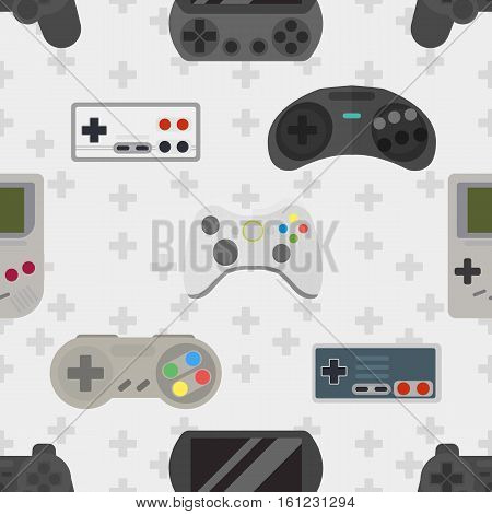 Gamepad colorful seamless pattern. Gamer controller background. Vector graphic texture button computer game console. Wireless entertainment joystick technology.