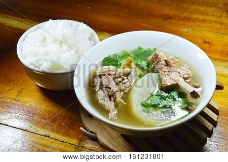 boiled winter melon duck soup eat couple with plain rice