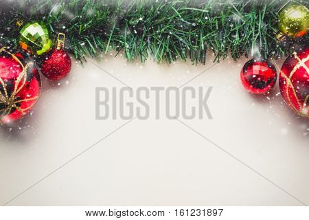 Christmas Green Grass on Blank Space of Old Paper with Balls and Gift Boxes with in Vintage Tone