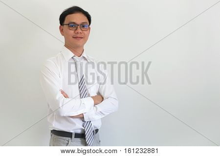 Portrait of young asian ceo businessman smart looking at camera.