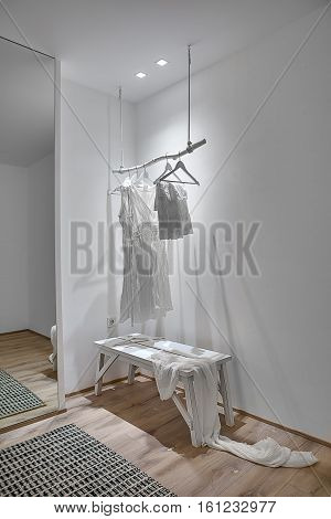 Room in a modern style with white walls and a parquet with a carpet on the floor. There is a white wooden hanger with hanging clothes, wooden bench with a shawl, mirror, glowing lamps. Vertical.