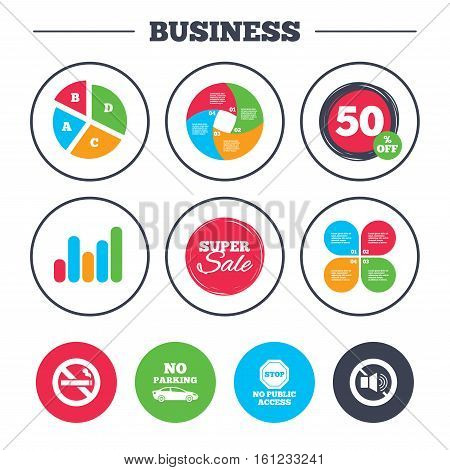 Business pie chart. Growth graph. Stop smoking and no sound signs. Private territory parking or public access. Cigarette symbol. Speaker volume. Super sale and discount buttons. Vector