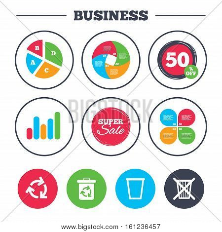 Business pie chart. Growth graph. Recycle bin icons. Reuse or reduce symbols. Trash can and recycling signs. Super sale and discount buttons. Vector