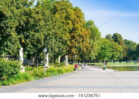 STUTTGART, GERMANY - September 15, 2016: Schlossplatz is the largest square in the center of Stuttgart, GERMANY