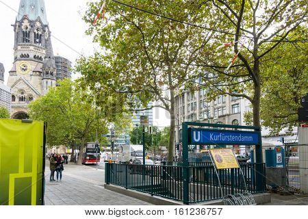 BERLIN, GERMANY- October 7, 2016: Typical Street view October 7, 2016 in Berlin, Germany. Berlin is the capital of Germany. With a population of approximately 3.5 million people.BERLIN, GERMANY