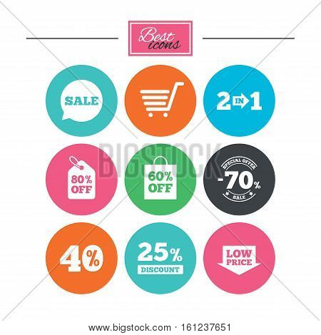 Sale discounts icon. Shopping cart, coupon and low price signs. 25, 40 and 60 percent off. Special offer symbols. Colorful flat buttons with icons. Vector