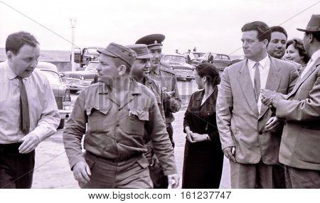 Yangiyer Uzbekistan - May 10 1963: Persons accompanying Fidel Castro.
