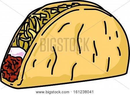 Ground beef Taco with sour cream, cheese and lettuce