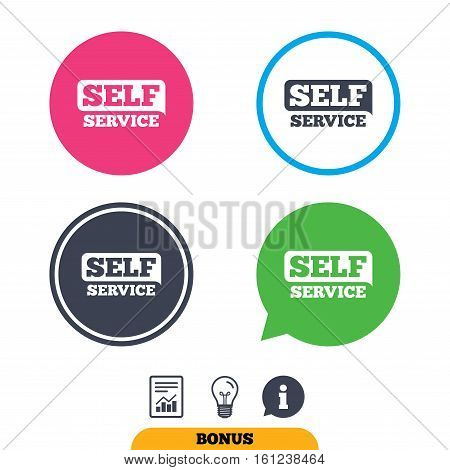 Self service sign icon. Maintenance button. Report document, information sign and light bulb icons. Vector