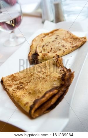 Homemade french crepe on the table