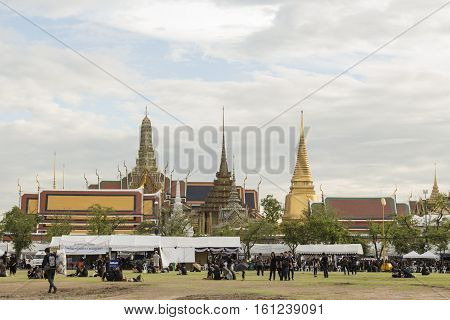 BANGKOK THAILAND - NOV 13 : A crowd of mourners at Sanam Luang while the body of Thailand Bhumibol Adulyadej keep in Grand Palace on november 13 2016