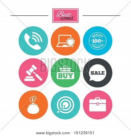 Online shopping, e-commerce and business icons. Auction, phone call and sale signs. Cash money, case and target symbols. Colorful flat buttons with icons. Vector