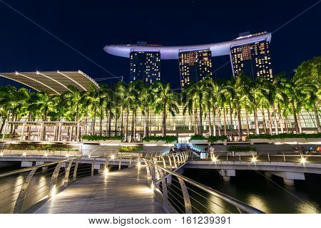 Singapore - June 24, 2016: The Marina Bay Sands complex at night in Sigapore