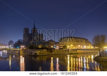 Notre Dame de Paris at Twilight France