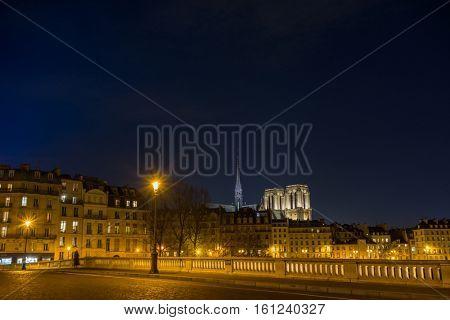 Bridge by the Seine river with view on Notre dame de Paris France