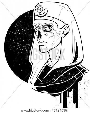 Egyptian astronomic art print with ancient king