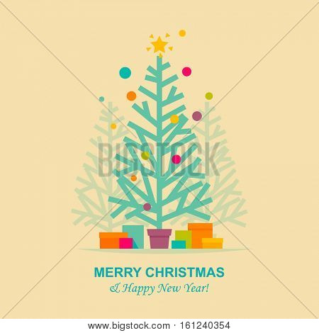 Christmas tree flat style greeting card