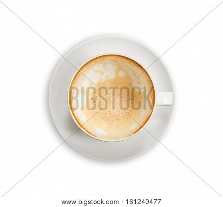 Top View Empty White Coffee Cup (latte Coffee). Isolated On White. Saved With Clipping Path