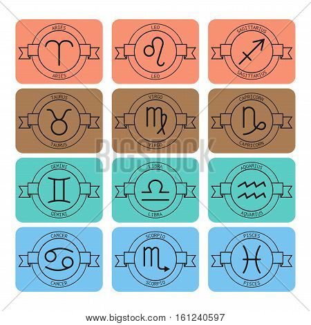 Signs of the zodiac for horoscope and predictions. Linear vector