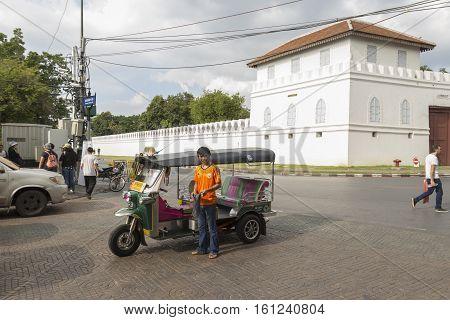 BANGKOK THAILAND - NOV 19 : tuk-tuk Taxi service at south of Grand Palace near Tha Tian on november 19 2016