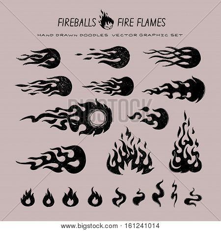 fire flames and fireball hand drawn doodles style icons set, isolated vector graphic art logos