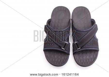 New Black Men's Sandals Isolated On White