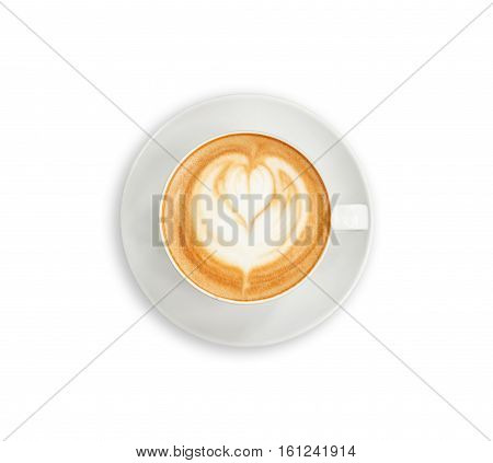 Top View Hot Latte Coffee In White Cup. Isolated On White. Saved With Clipping Path