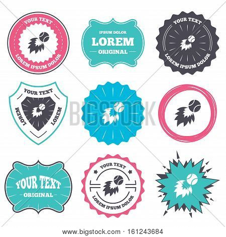 Label and badge templates. Tennis fireball sign icon. Fast sport symbol. Retro style banners, emblems. Vector