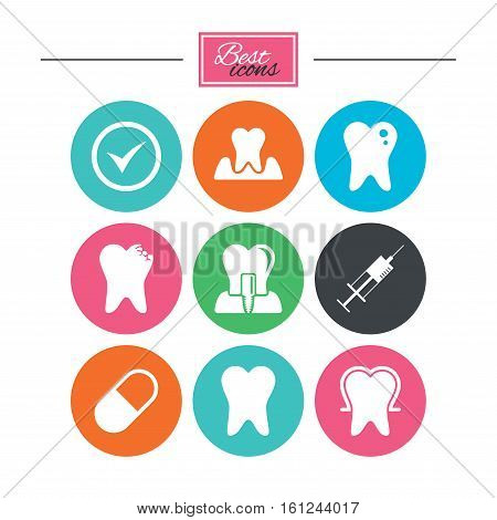 Tooth, dental care icons. Stomatology, syringe and implant signs. Healthy teeth, caries and pills symbols. Colorful flat buttons with icons. Vector