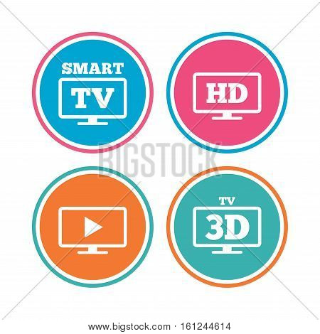 Smart TV mode icon. Widescreen symbol. High-definition resolution. 3D Television sign. Colored circle buttons. Vector