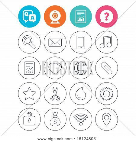 Universal icons. Smartphone, mail and musical note. Heart, globe and share symbols. Paperclip, scissors and water drop. Report document, question and answer icons. Web camera sign. Vector