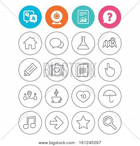 Universal icons. House building, speech bubbles and first aid box. Copy documents, like counter and hot coffee drink. Map pointer, arrow and favorite star. Report document, question and answer icons