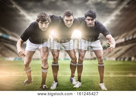 3D Rugby stadium against rugby players ready to play