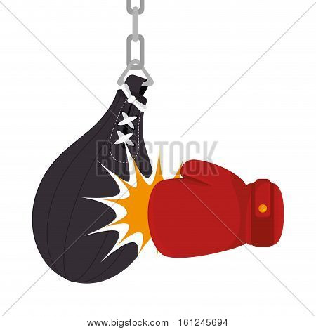 boxing gloves equipment with punch bag icon vector illustration design