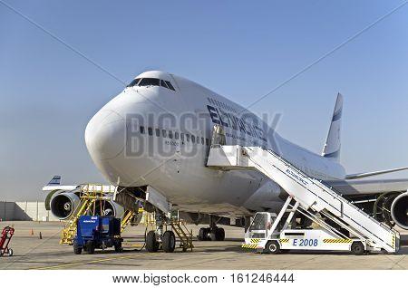 Boeing 747 (4X-elh) — El Al Israel Airlines Airplane In Ben-gurion Airport. Israel