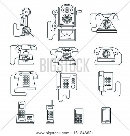 Vector illustration of evolution of communication devices from classic phone to modern mobile phone. Retro vintage icons set. Cell symbols silhouettes isolated. Line style.
