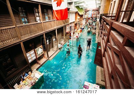 Village of Petrovo Russia - August 21 2016: Entertainment Complex the Ethno World. Main Street Tourist center