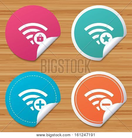 Round stickers or website banners. Wifi Wireless Network icons. Wi-fi zone add or remove symbols. Favorite star sign. Password protected Wi-fi. Circle badges with bended corner. Vector